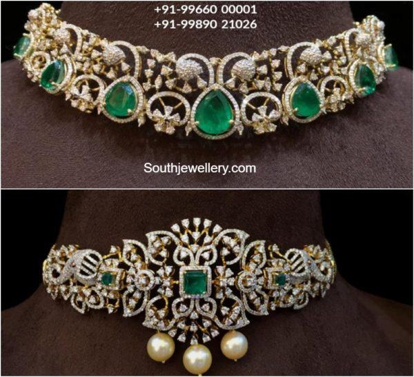 simple diamond emerald choker designs