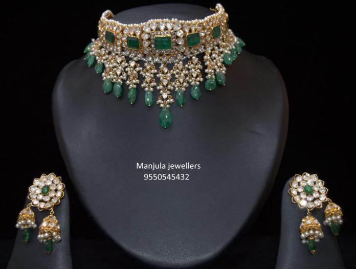 uncut and emerald choker set