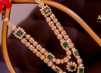 uncut diamond and pearl necklace set