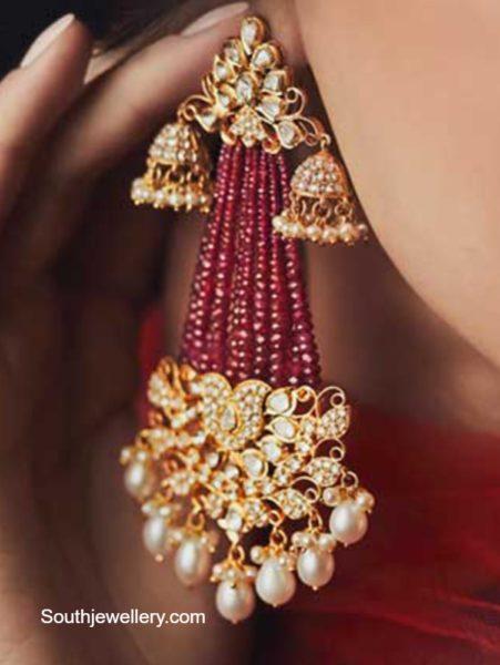 uncut diamond and ruby earrings