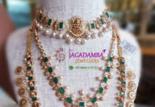 antique gold necklace and haram set with emeralds