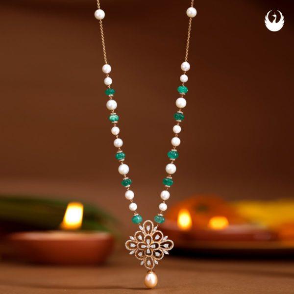beads chain with diamond pendant
