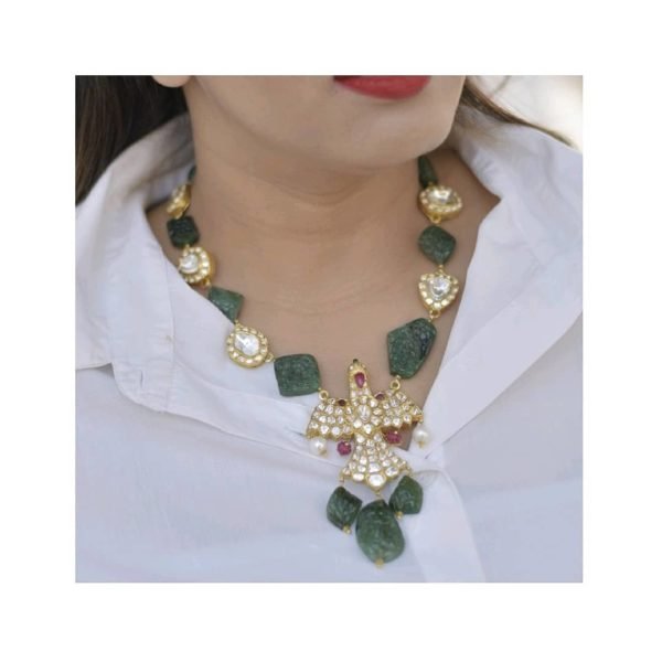 carved emerald necklace with eagle pendant