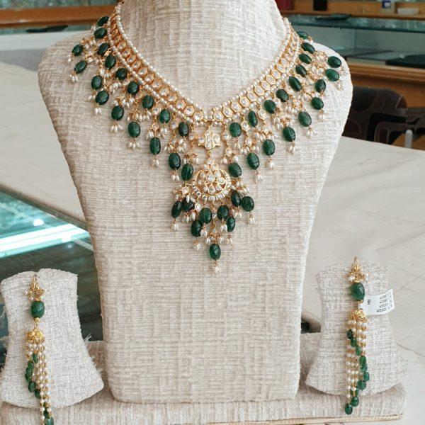 cz emerald necklace set