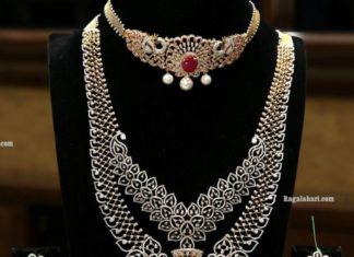 diamond choker and haram by manepally (2)