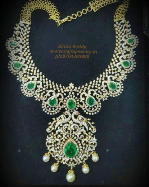 diamond emerald necklace vajra jewelry