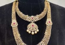 diamond necklace, haram, vaddanam set