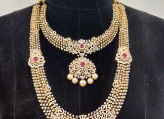 diamond necklace, haram, vaddanam set