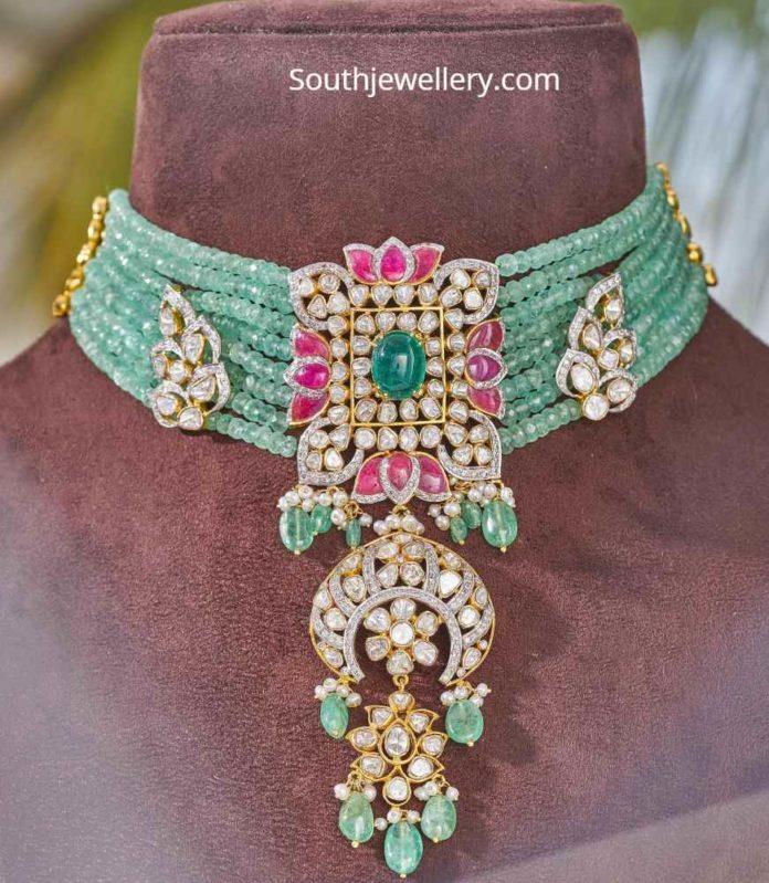 emerald beads choker parnicaa