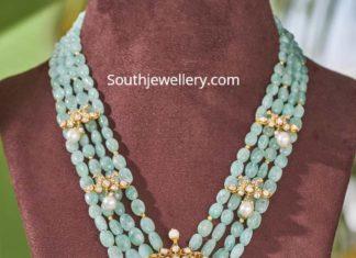 emerald beads haram with polki pendant