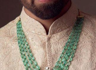 emerald beads necklace men