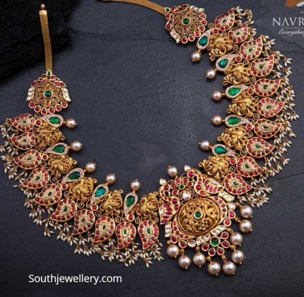 kundan mango necklace navrathan