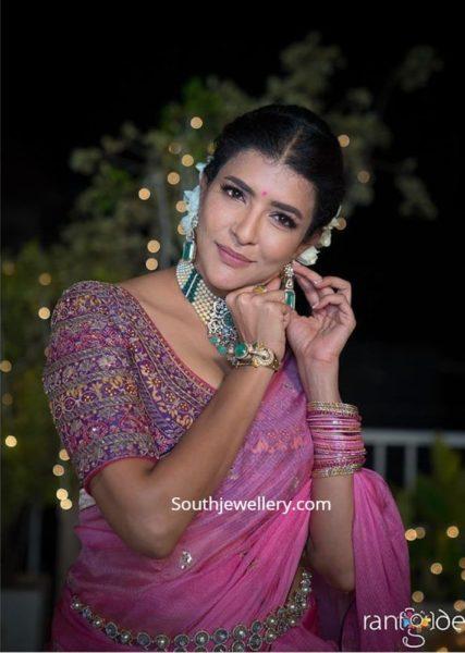 lakshmi manchu in pearl choker set (2)