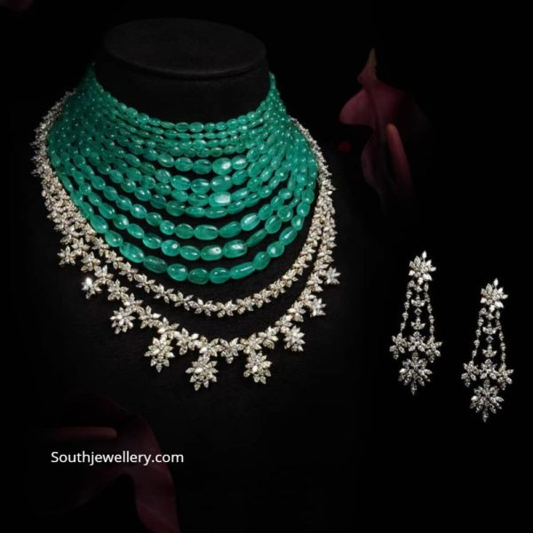 layered emerald beads necklace