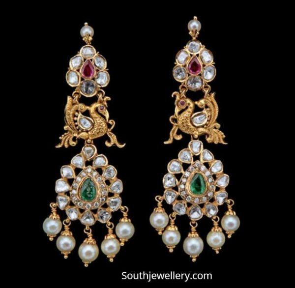 peacock pachi earrings