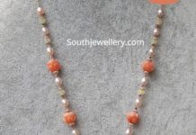 pearl and coral beads chain with diamond pendant akoya