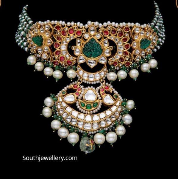 pearl and emerald beads choker srj