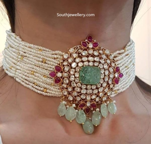 pearl choker with uncut pendant akoya