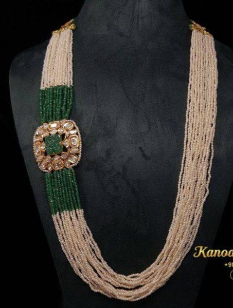 pearl haram with polki side pendant