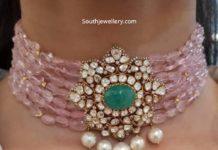 pink beads choker akoya