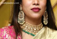 polki diamond choker and chandbalis