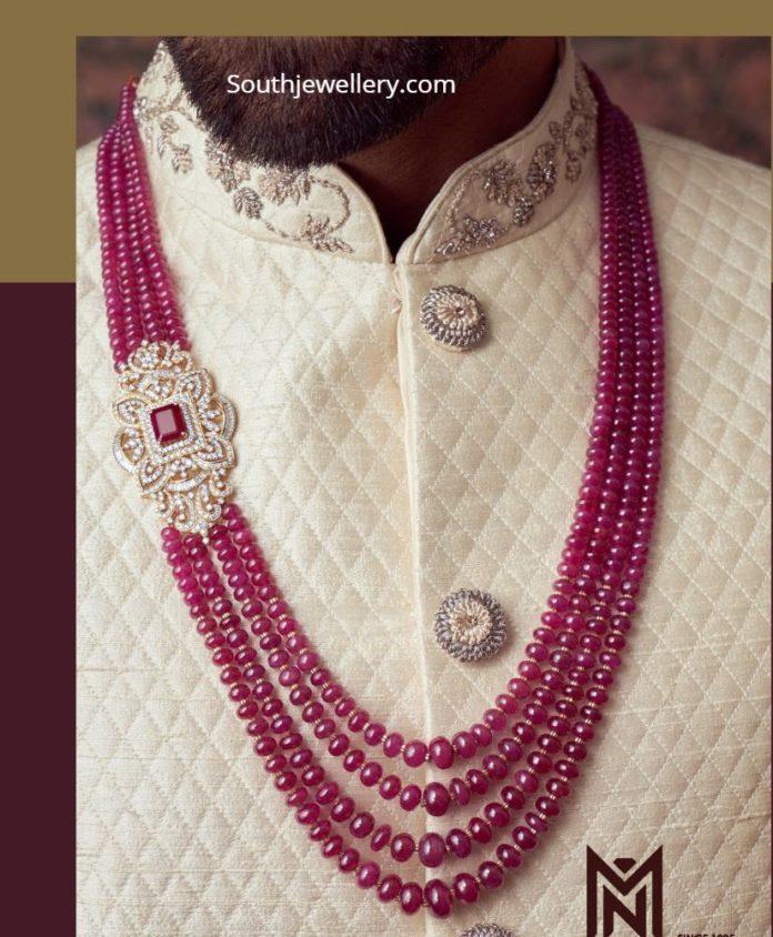 ruby beads haram groom jewellery