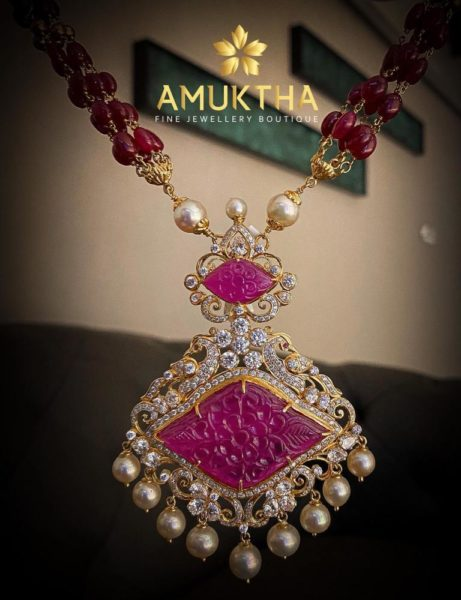 ruby beads necklace with diamond pendant (1)