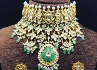uncut diamond and emerald choker set