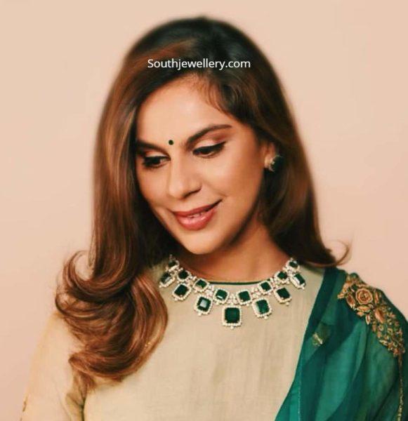 upasana konidela emerald necklace set