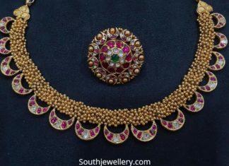 antique gold kundan necklace set vajra jewelry