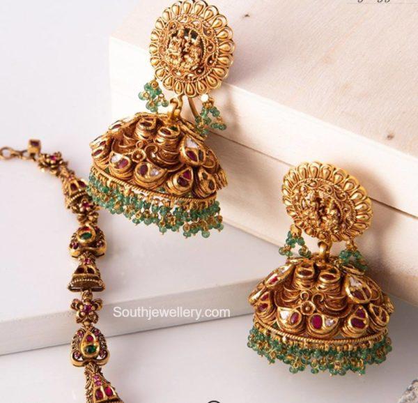antique gold nakshi jhumkas (1)