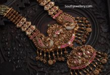 beads haram with gold nakshi pendant