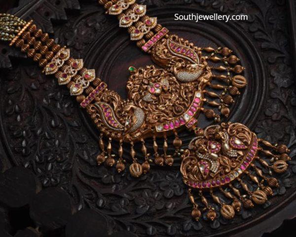 beads haram with gold nakshi pendant