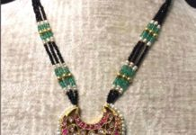 black beads necklace with kundan pendant
