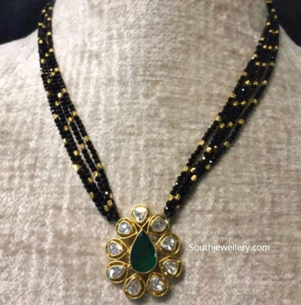black diamond necklace with uncut pendant