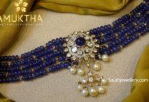 blue beads choker