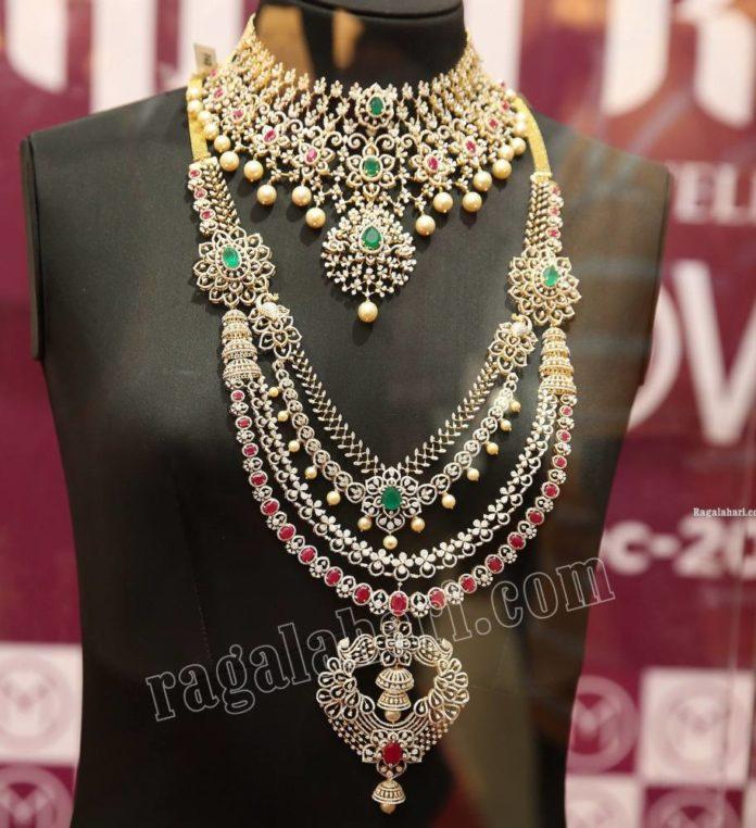 bridal diamond and emerald jewellery set