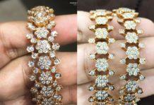 closed setting floral diamond bangles