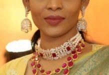 diamond choker and layered ruby necklace