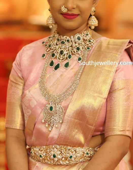diamond emerald jewellery set