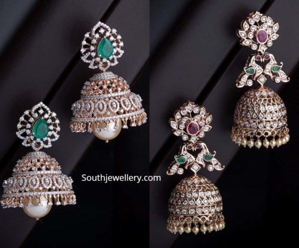 diamond jhumki designs navrathan jewellers