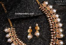 diamond peacock pearl necklace