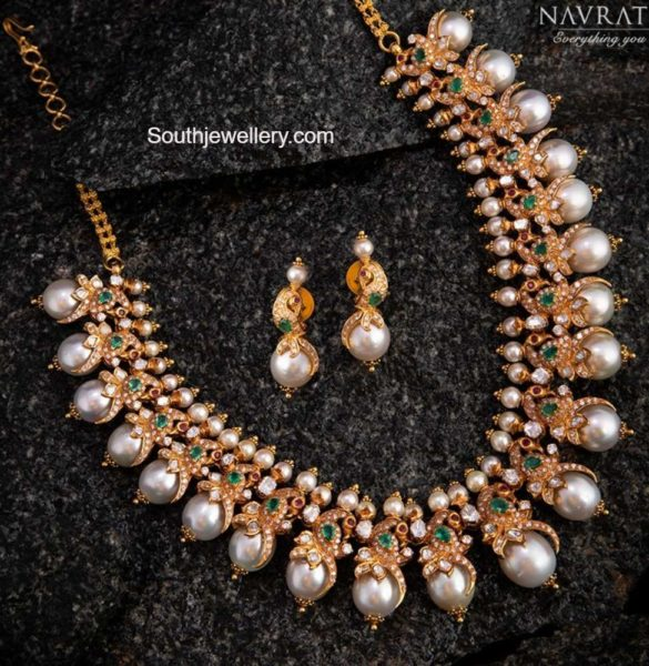 diamond peacock pearl necklace