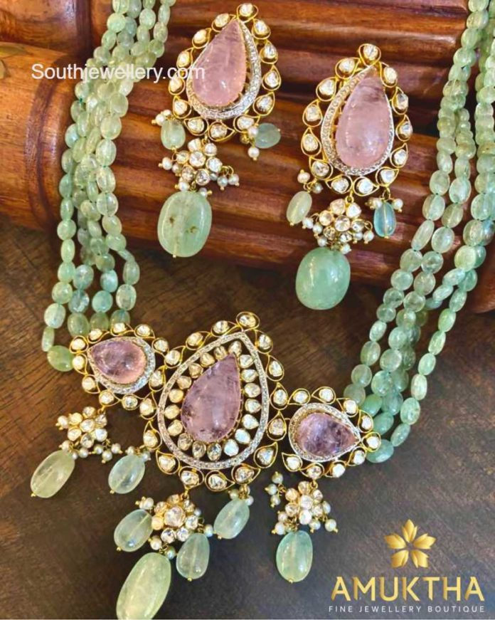 emerald beads necklace set amuktha