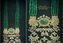 emerald haram with polki pendant