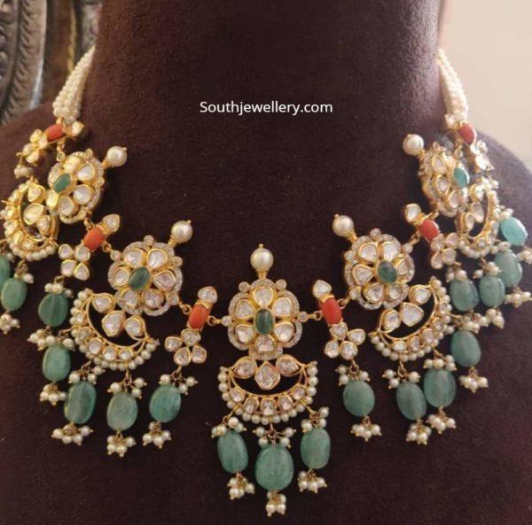 floral uncut diamond necklace agastya