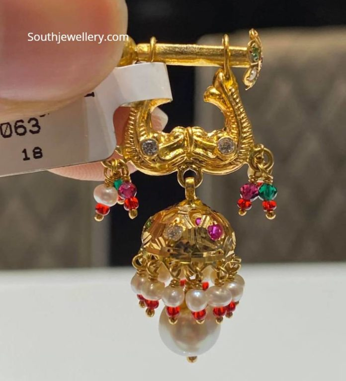 gold jhumkis with screw