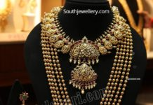 gold nakshi necklace and gundla mala