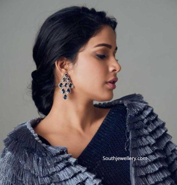 lavanya tripathi in diamond sapphire earrings