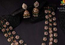 layered emerald polki necklace set